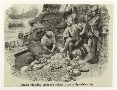 Picture Of Francis Drake And Treasure From A Spanish Ship