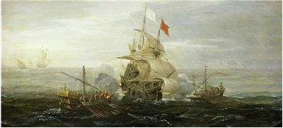 Picture Of French Ship Under Attack By Barbary Pirates