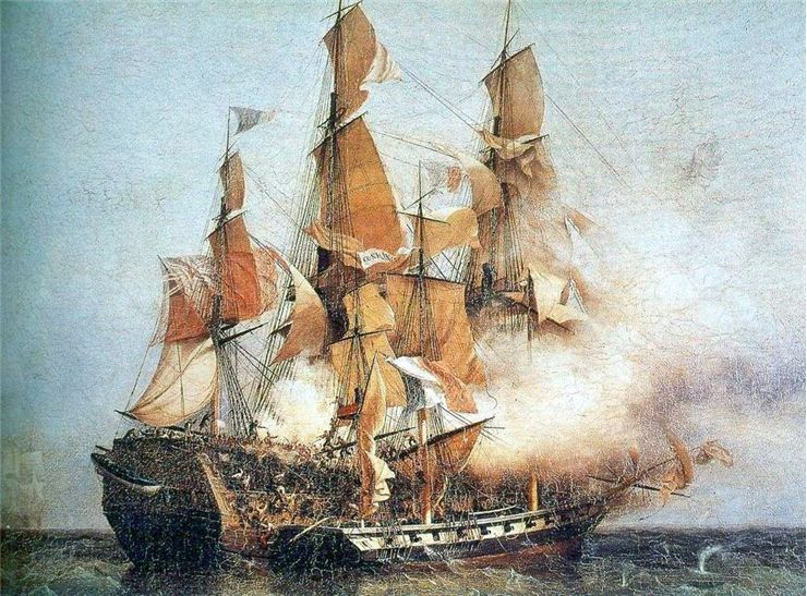 Picture Of HMS Kent Battling A Privateer Vessel Commanded By Robert Surcouf