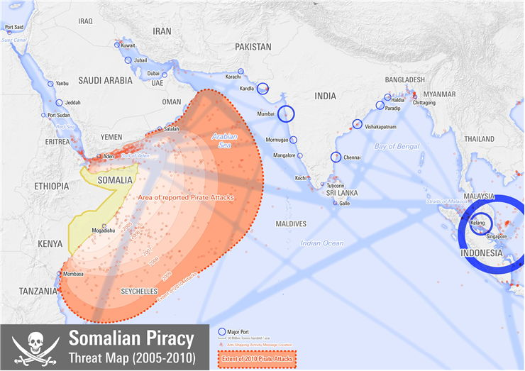 Picture Of Map Of Areas Under Threat By Somali Pirates