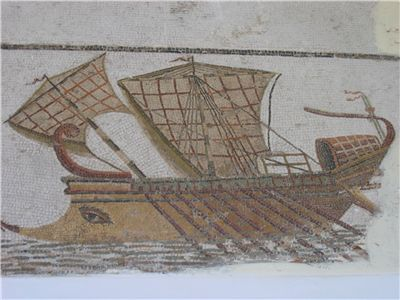 Picture Of Mosaic Of A Roman Trireme Ancient Piracy