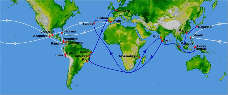 Picture Of Portuguese Spanish Trade Routes From 16th Century