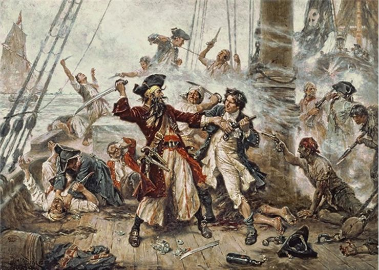 Picture Of The Battle Between Blackbeard And Lieutenant Maynard